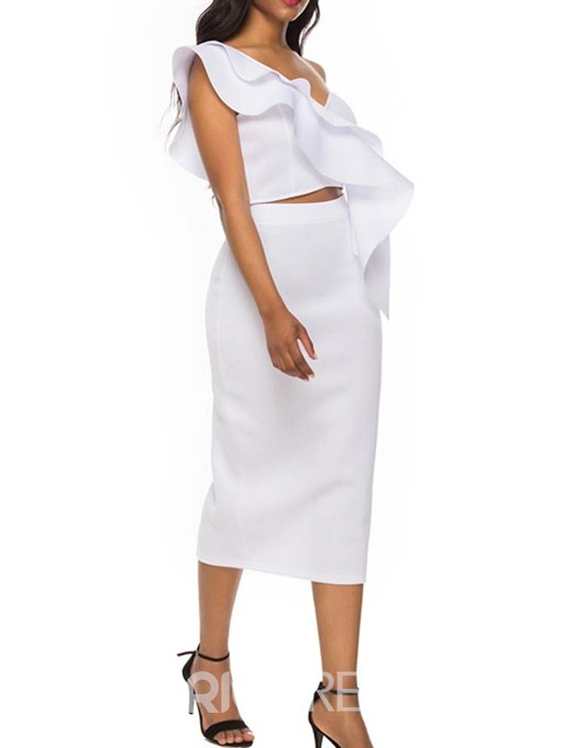 Ericdress White Ruffles Plain Asymmetric Women's Suit Shirt And Skirt Two Piece Sets
