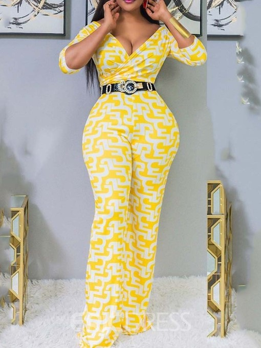 Ericdress Color Block Sexy Full Length Slim Jumpsuit(Without Belt)