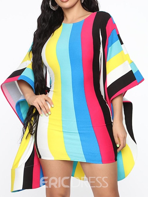 Ericdress Color Block Flare Sleeve Bodycon Backless Fashion Dress