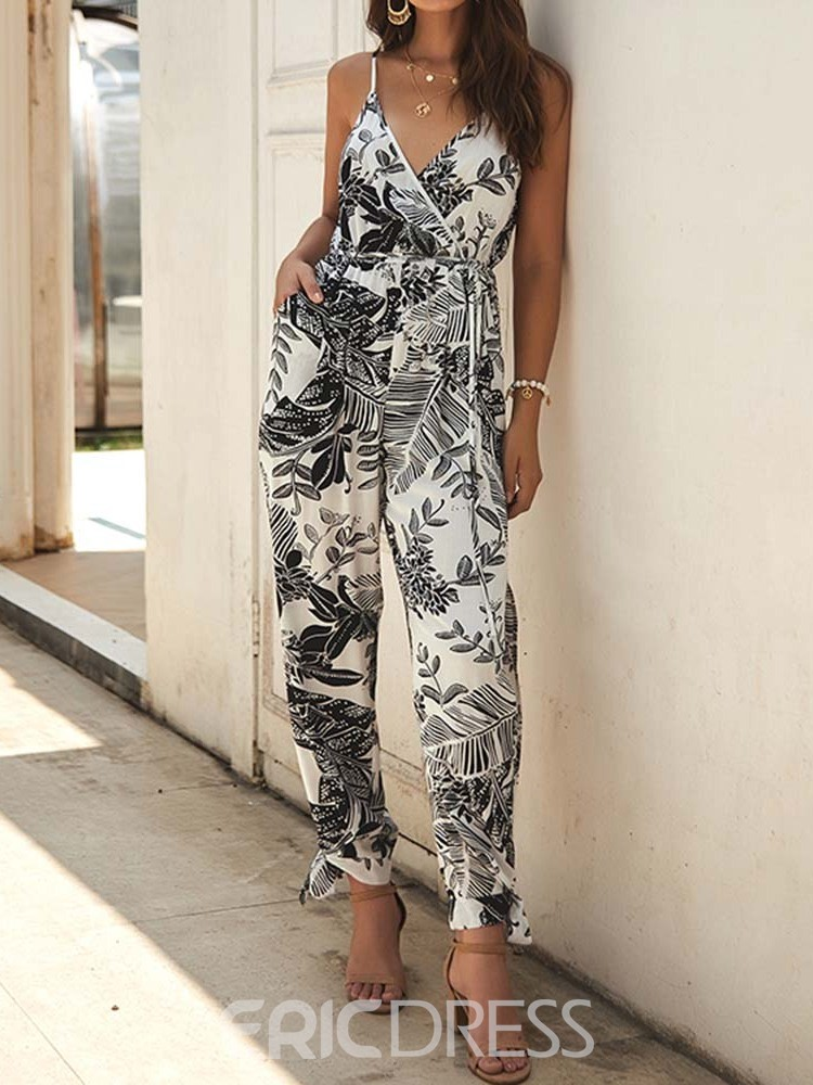Ericdress Floral Print Office Lady Floral Loose Jumpsuit