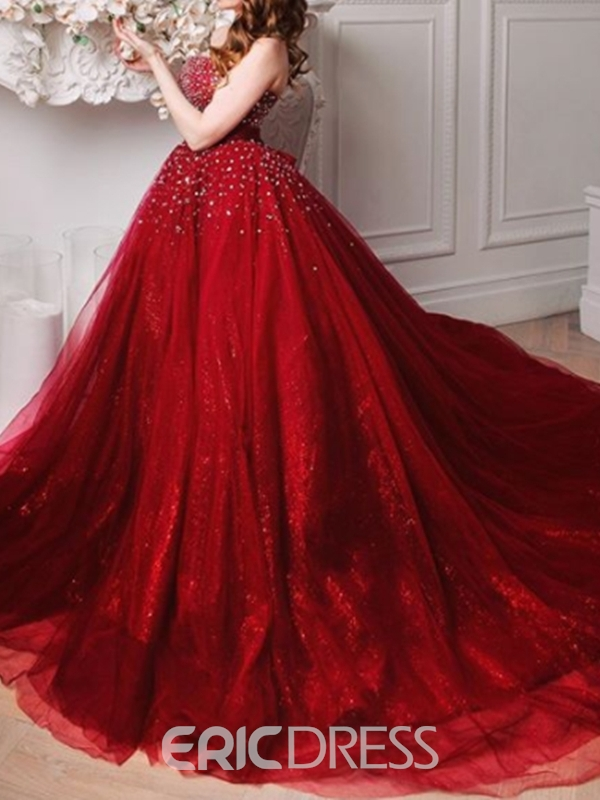 Ericdress Floor-Length Beading Court Train Sleeveless Evening Dress