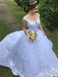 Ericdress Appliques Straps Ball Gown Outdoor Wedding Dress фото