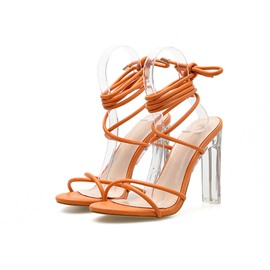 Ericdress Plain Open Toe Ankle Strap Chunky Heel Women's Sandals