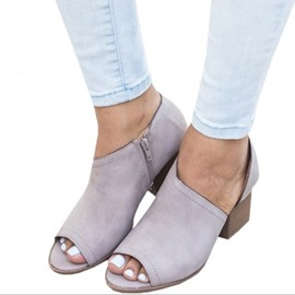 ericdress talon épais slip-on peep toe chaussures minces occasionnels
