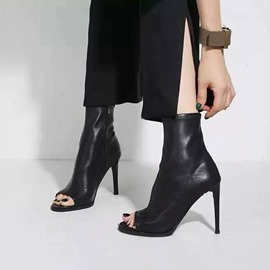 Ericdress PU Open Toe Stiletto Heel Slip-On Women's Ankle Boots