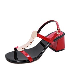 Ericdress PU Buckle Open Toe Chunky Heel Women's Sandals