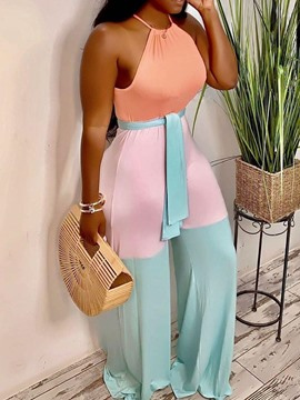 Ericdress Patchwork Cute Full Length High Waist Straight Jumpsuit