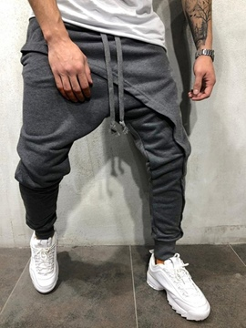 Ericdress Asymmetric Plain Casual Lace-Up Men's Casual Pants