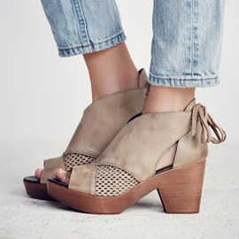 Ericdress Hollow Heel Covering Chunky Heel Platform Women's Sandals