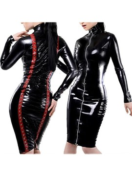 Ericdress Zipper Lace-Up Long Sleeve Patent Leather Sexy Costume