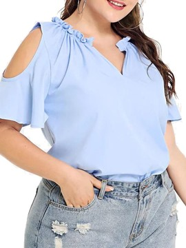 Ericdress Plus Size Pleated V-Neck Hollow Short Sleeve Blouse