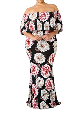 Ericdress Plus Size Floral Print Floor-Length Bodycon Regular Pullover Dress