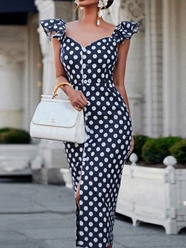 Ericdress Bodycon Polka Dots Cap Sleeve Single-Breasted Elegant Dress