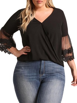 Ericdress Plus Size Patchwork Mesh Casual T-Shirt