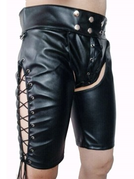 Ericdress Men's Rivet Patent Leather Plain Sexy Shorts