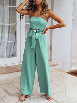 Ericdress Light Blue Lace-Up Plain Loose Jumpsuit