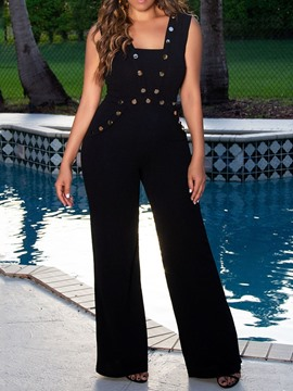 Ericdress Black Plain Button Slim Wide Legs Jumpsuit
