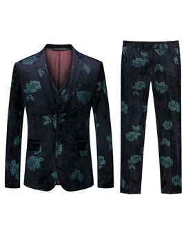 Ericdress Fashion Floral Print Mens 3-Piece Dress Suit