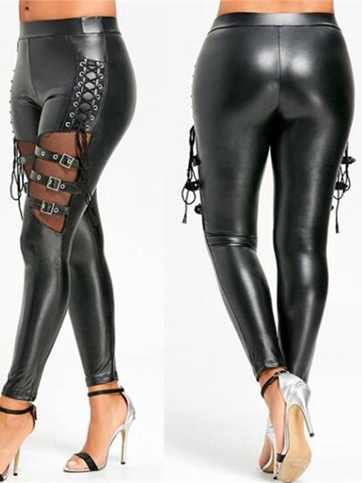 Ericdress Women's Metal Button Lace-Up Patent Leather Sexy Leggings