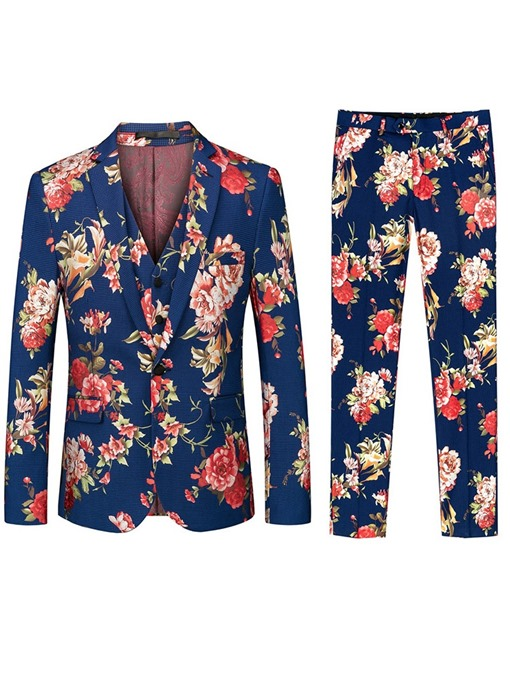 Ericdress Vest Print One Button 3-Piece Mens Dress Suit