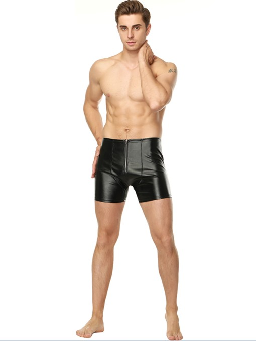Ericdress Men's Patent Leather Plain Open Back Sexy Shorts