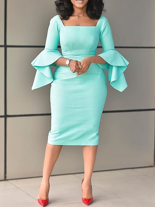 Ericdress Flare Sleeve Square Neck Bodycon Office Lady Dress