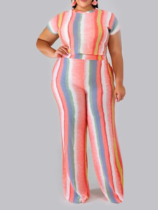 Ericdress Plus Size Stripe Fashion Women's Suit T-Shirt And Pants Two Piece Sets