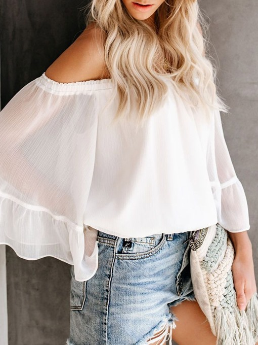 Ericdress Off Shoulder See-Through Flare Sleeve Casual Blouse