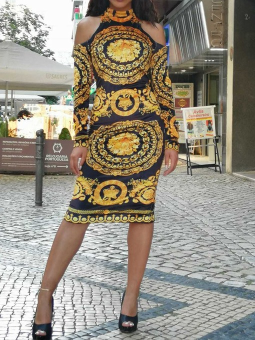 Ericdress African Fashion Cold Shoulder Bodycon Mid-Calf Dress