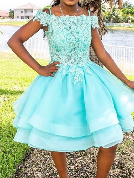Ericdress A-Line Straps Appliques Knee-Length Homecoming Dress