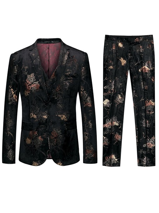 Ericdress Button Color Block Single-Breasted Mens 3-Piece Dress Suit