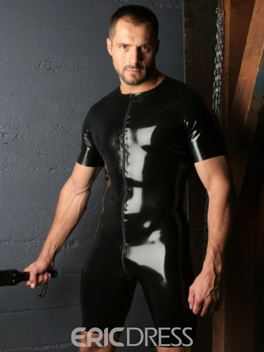 Ericdress Short Sleeve Sexy Patent Leather Men's Jumpsuit
