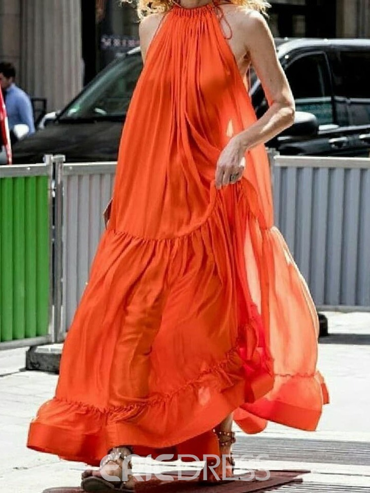 Ericdress Expansion Ankle-Length Sleeveless Pleated Chiffon Plain Orange Dress