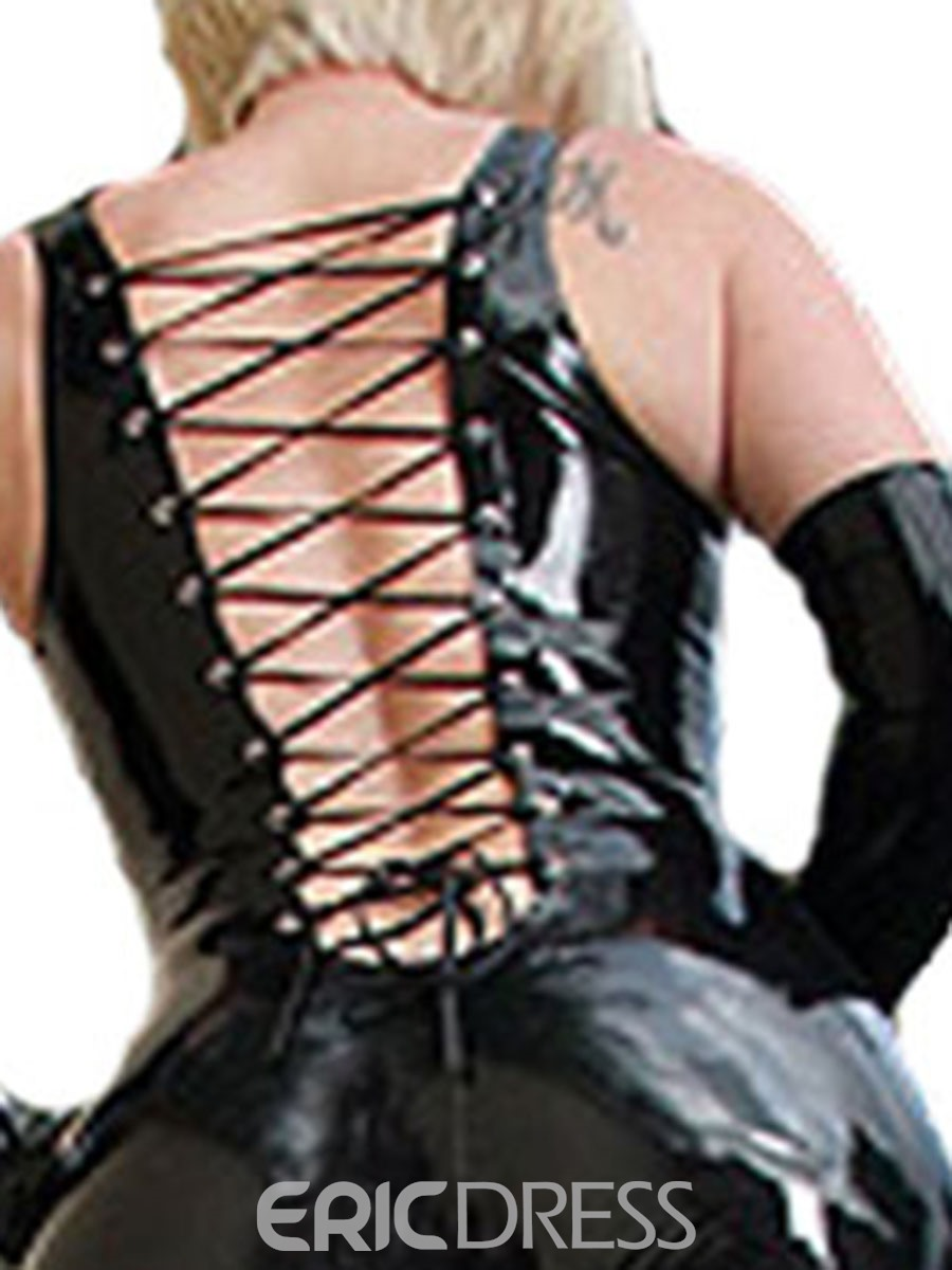 Ericdress Plain Lace-Up Patent Leather Sexy Women's Costume
