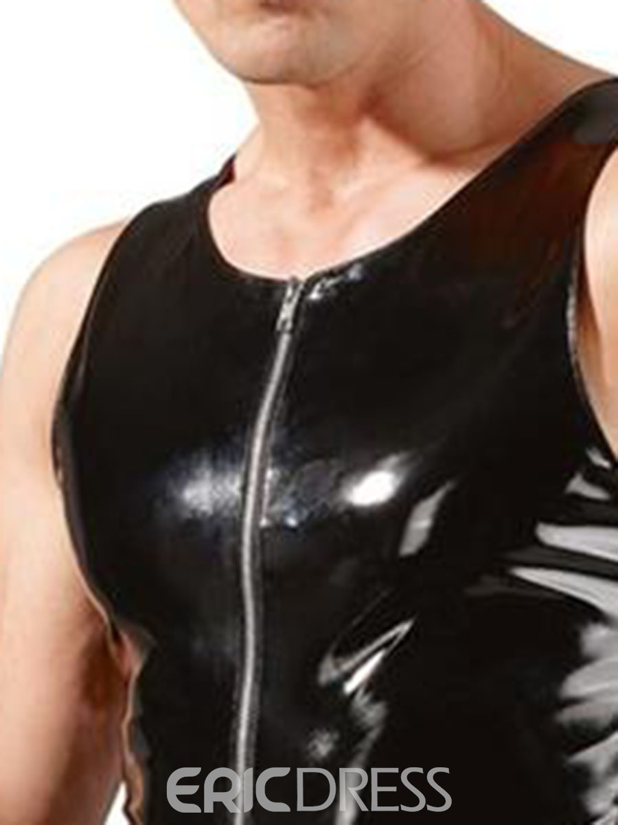 Ericdress Men's Plain Lace-Up Patent Leather Sleeveless Sexy Bodysuit