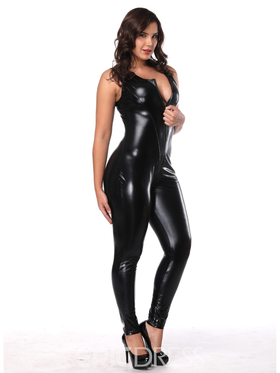 Ericdress Lace-Up Plain Patent Leather Sleeveless Sexy Costume
