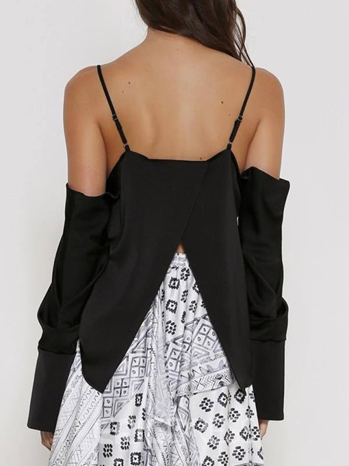 Ericdress Off-Shoulder V-Neck Backless Sexy Blouse