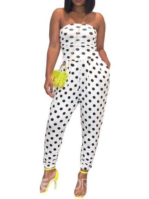 Ericdress Polka Dots Ankle Length Slim High Waist Jumpsuit