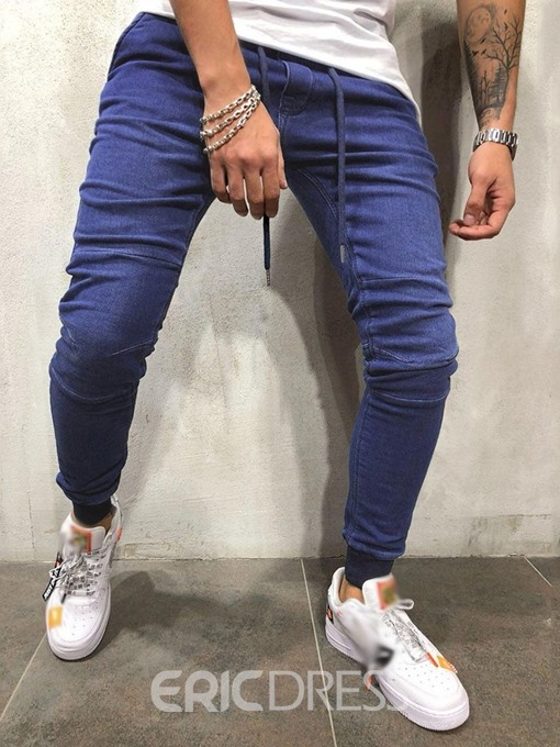 Ericdress Plain Lace-Up Casual Mens Pencil Jeans