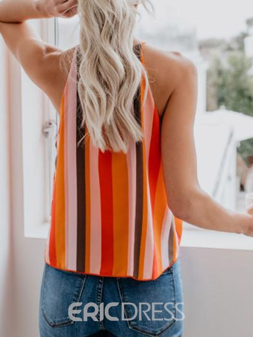 Ericdress Color Block Stripe Lace-Up Casual Tank Top