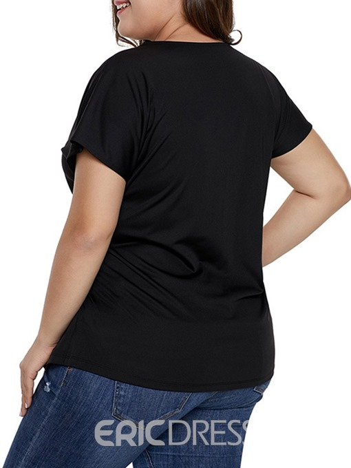 Ericdress Plus Size Asymetric Pleated Single T-Shirt