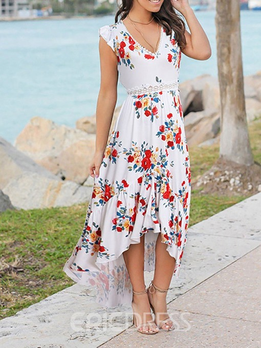 Ericdress Swallowtail Floral Print V-Neck Sweet Pullover Dress