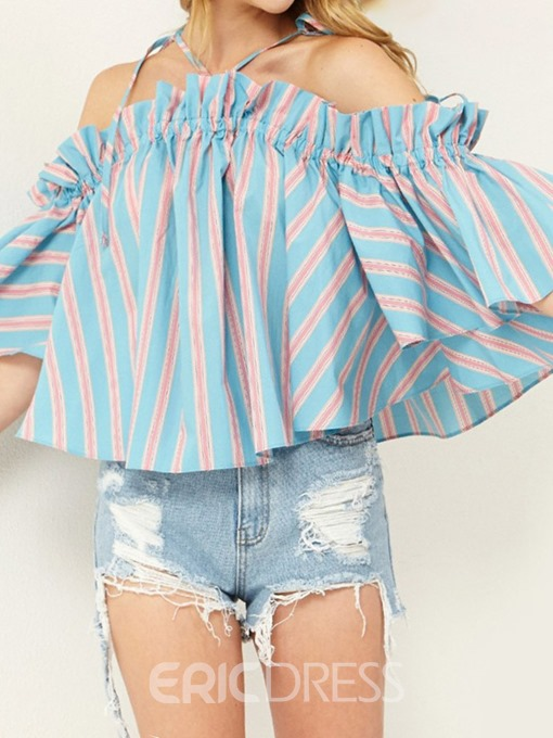 Ericdress Batwing Sleeve Off Shoulder Stripe Lace-Up Blouse