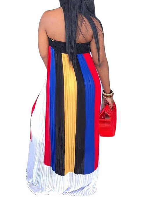 Ericdress Off Shoulder Color Block Pleated Sleeveless Floor-Length Dress