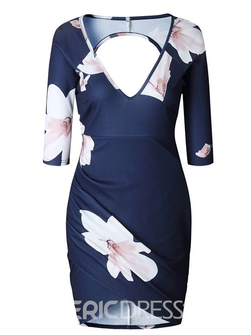 Ericdress Floral Sexy Backless Above Bodycon Knee V-Neck Dress