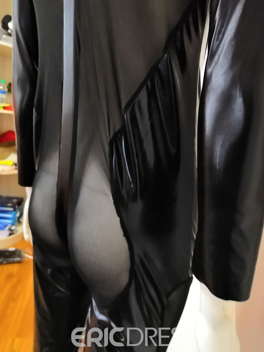 Ericdress Patent Leather Plain Mesh Long Sleeve Sexy Costume