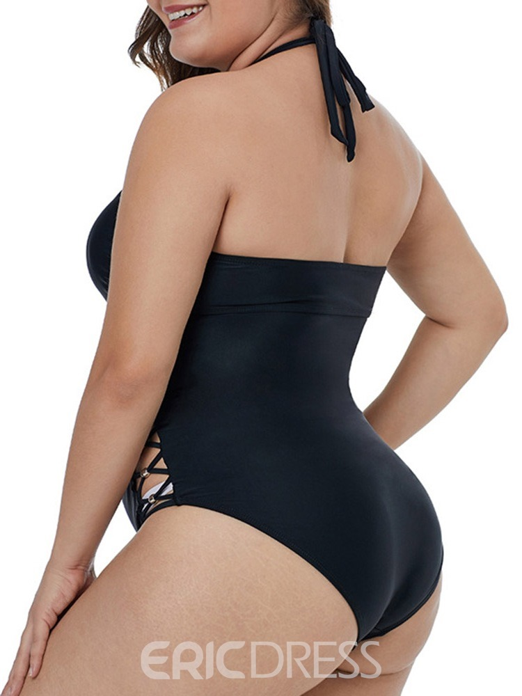 Ericdress Plus Size Hollow Lace-Up Sexy Swimwear