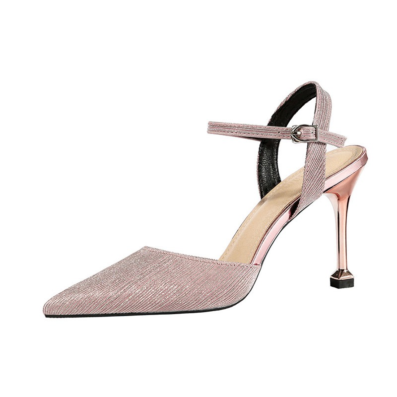 Ericdress Sequin Buckle Pointed Toe Ankle Strap Women's Sandals