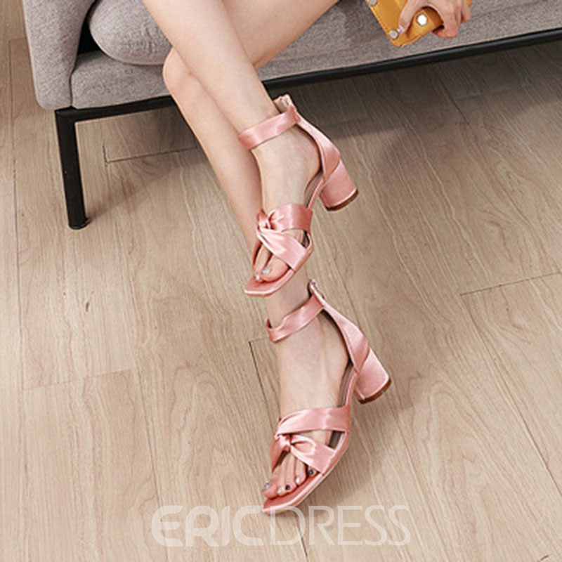 Ericdress Silk Fabric Zipper Open Toe Chunky Heel Women's Sandals
