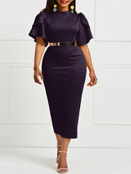 Ericdress Ruffle Sleeve Bodycon Plain Stand Collar Dark Purple Dress(Without Waistband) thumbnail
